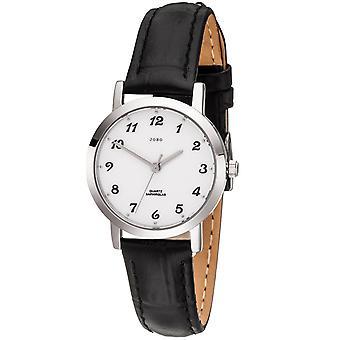 JOBO señoras reloj de cuarzo analógico acero inoxidable cuero correa negro para mujer reloj