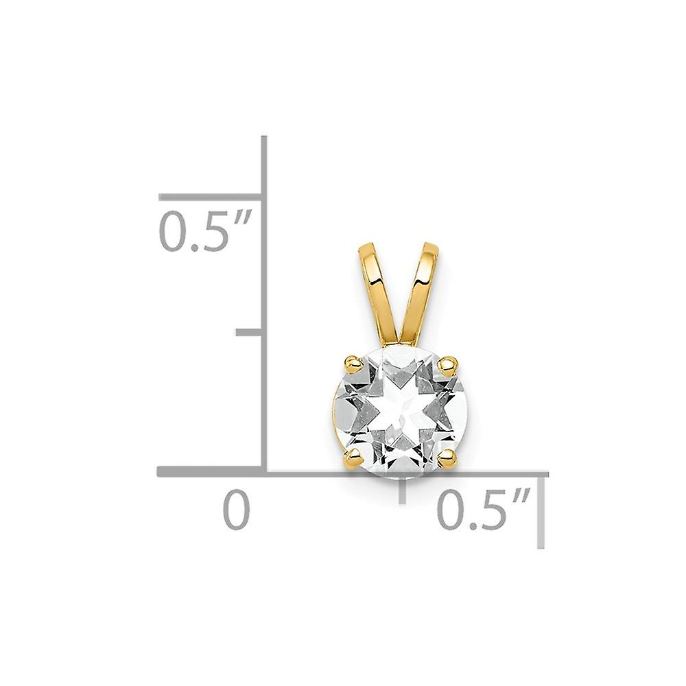 14k Yellow Gold Polished Open back 6mm CZ Cubic Zirconia Simulated Diamond Pendant Necklace Measures 11x6mm Jewelry Gift