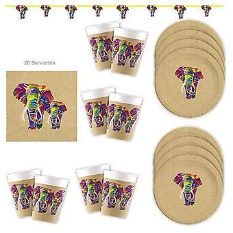 Elephant Party Set of Eco Material FSC 37-Piece for 8 Guests Party Birthday Decoration Party Package