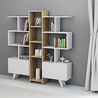 Bibliothek Asrin White Color, Eiche in Melaminischem Chip, L130xP22xA140.8 cm