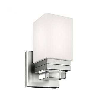 Maddison Wall Lamp, Satin Nickel, Opal Glass And Crystal