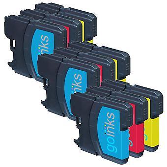 3 Conjuntos de cartuchos C/M/Y para substituir o Irmão LC980 & LC1100 Compatível/não-OEM por Go Inks (9 tintas)