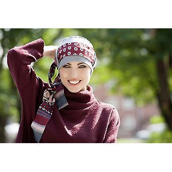 Headwear para portadores de câncer - Yanna Grey Maroon Fiori