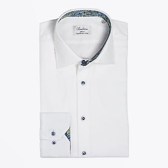 Stenstroms  - Abstract Floral Trim Insert Shirt - White