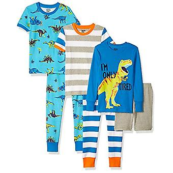 Brand - Spotted Zebra Big Kids' 6-Piece Snug-Fit Cotton Pajama Set, Di...