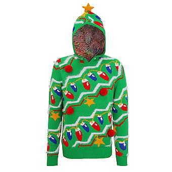 Christmas Shop Mens 3D Hooded Christmas Tree Jumper