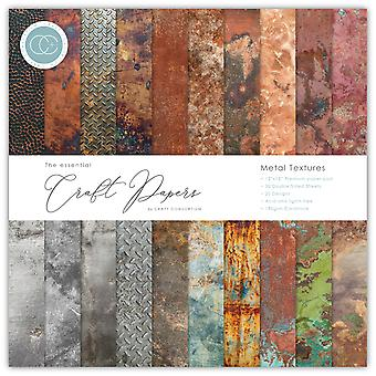 Craft Consortium Essential Craft Papers 12x12 Inch Paper Pad Metal Textures