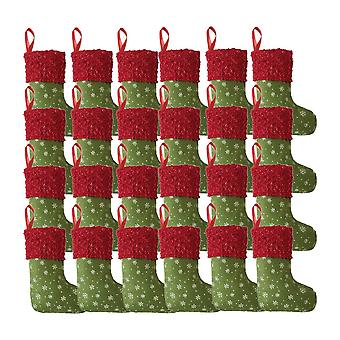 24Pcs Christmas Mini Snowflake Stockings Hanging Ornament Green+red