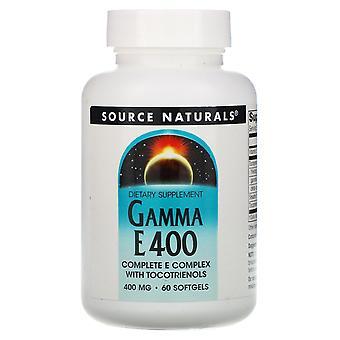 Source Naturals, Gamma E 400 Complex with Tocotrienols, 400 mg, 60 Softgels