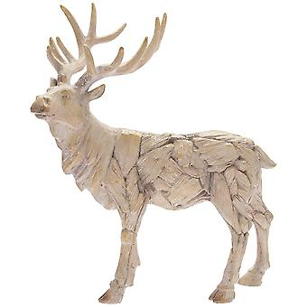 Driftwood Stag Resin Wooden Carved Effect Animal Statue Ornament