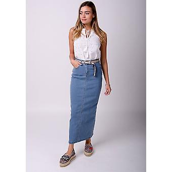 Jessica long denim skirt - palewash