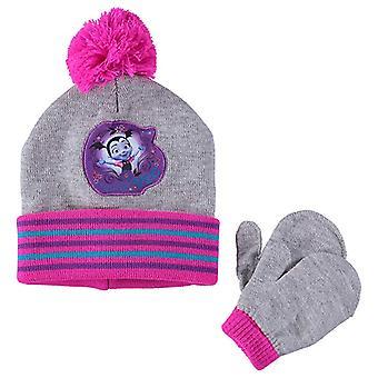 Beanie Cap Disney Vampirina Pink/Grey Girls w/Mittens Set Hat 358928