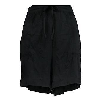AnyBody Women's Shorts Cozy Knit With Smocked Waistband Black A353782