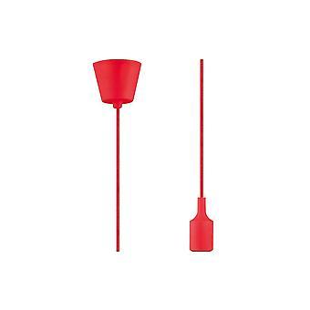 Inspiré Deco - Dreifa - 1.5m Suspension Kit 1 Light Red,90mm Base en plastique et Couverture de lampe de silicium, E27 Max 60W, c, w Support de plafond