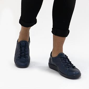 ECCO Soft 2.0 Ladies Leather Trainers Night Sky