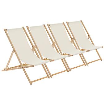 Traditional Adjustable Garden / Beach-style Deck Chair - Cream - Pack of 4