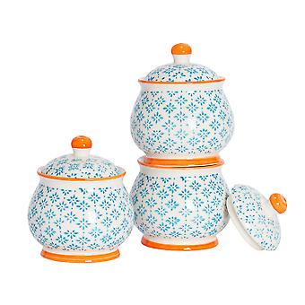 Nicola Spring 3 Piece Hand-Printed Sugar Bowl with Lid Set - Porcelain Kitchen Storage Pots - Blue - 10.5 x 12.5cm