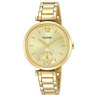 Vestido de pulsera de oro de las señoras pulsar con el reloj del dial oro 50m (modelo no. PN4068X1)