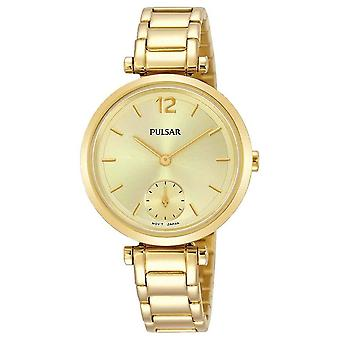 Pulsar Ladies Gold Bracelet Dress with Gold Dial 50M Watch (Model No. PN4068X1)