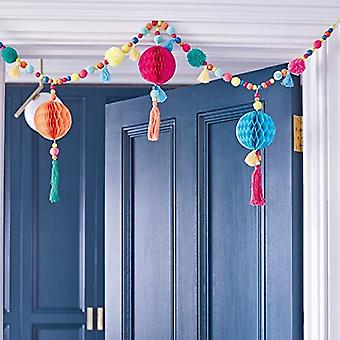 Pretty Coloured Boho Pom Pom Tassel Garland 1m Paper Honeycomb
