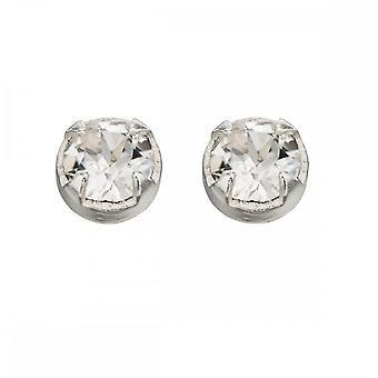 Inizio Sterling Argento A125C Chiaro Cristallo Diamante Stud Orecchini