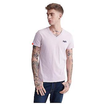 Superdry Orange Label Vintage V-Neck T-Shirt - Chalk Pink Feeder - XL