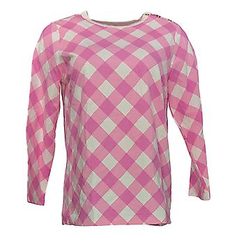 Bob Mackie Womens Pullover Knit Top Gingham Shoulder Buttons Pink A303016