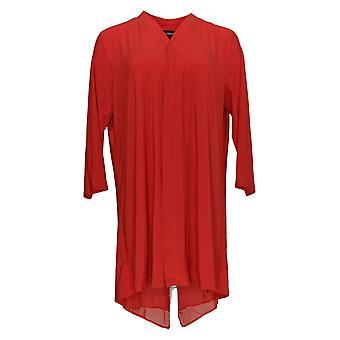 Nina Leonard Women's Plus Sweater Cardigan W/ Zipper & Chiffon Red 703-537