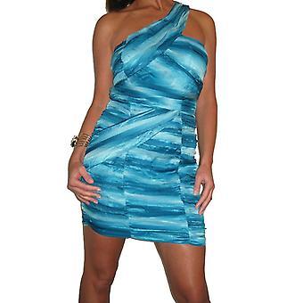 Mujeres's sin mangas fiesta Bodycon vestido señoras gasa de noche uno hombro ruched día Clubbing verano mini vestido 8-16