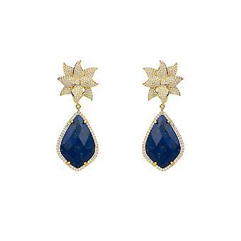 Earrings Lotus Flower Gemstone Dark Blue Lapis Lazuli Yellow Gold Drop Statement