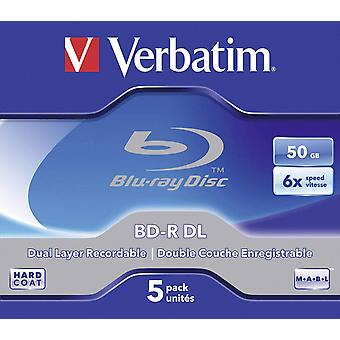 Letterlijk 43748 bd-r dl 50gb 6x - 5 pack jewel case bd-r 50gb single