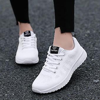 Zapatos para mujer, zapatos planos andando cesta con cordones zapatillas transpirables de malla