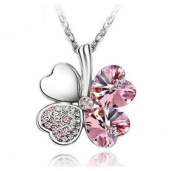 Pink Amethyst - Swarovski Elements Crystal Four Leaf Clover Pendant Necklace