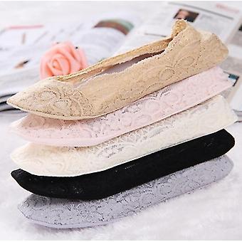 Calze da donna in pizzo di cotone Antiskid Invisible Liner Socks, Elastic Comfy, Summer,