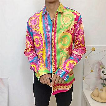 Fashion Men's Shirts, 3d Colorful Crown, Long Sleeve, Classic Tops