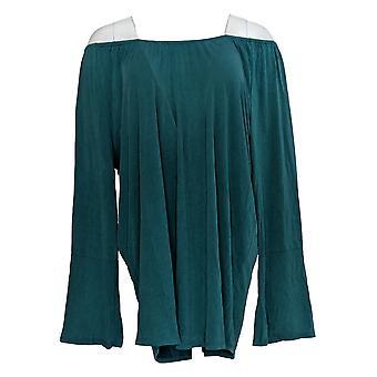 Kelly by Clinton Kelly Women's Plus Top Knit Elastic Neck Green A297939