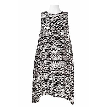 hals ermeløs trykt chiffon trapes kjole