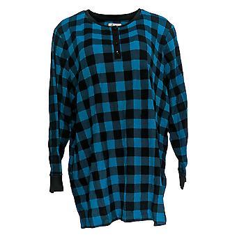 Denim & Co. Women's Top Wafflle Knit Plaid Button-Up Blue A372312