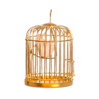 Dolls House Miniature 1:12 Scale Pet Accessory Bird In Brass Cage Birdcage