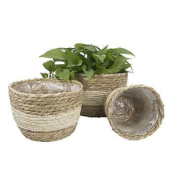 Garden Plant Storage Basket Handmade Straw Storage Basket Floor Flower Pot Decoration Home Living Room Flower Basket