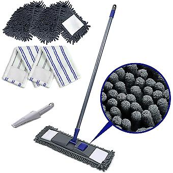 Flat Mop with 4 Mop Refills Chenille Magic Dust Cleaning Mop Send Scraping Dust Tool Masthome