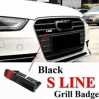 S Line Sline ABS Matt Black/RedGrill Badge Emblem With Clips For All S, Q, A, RS Ranges Models