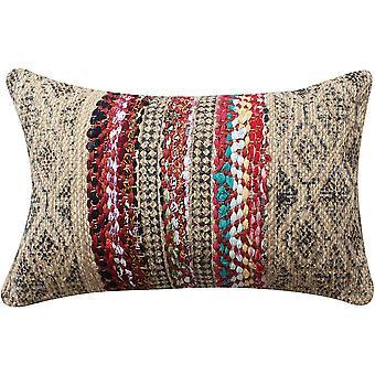 24 x 16 pulgadas tejida a mano almohada de acento de yute con estampado de bloque, marrón y rojo