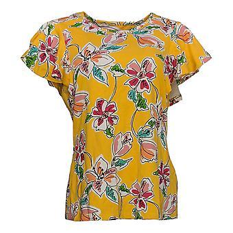 Denim & Co. Women's Top Short Slv Floral Print Scoop Neck Jaune A345749