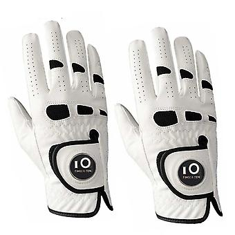 2-pack Pu Leather, Golf Gloves With Ball Marker, Left & Right Hand, Weather