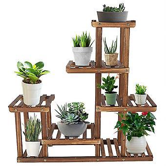 Multi-tiers Garden Plant Shelf, Wooden Plant Stand, Balcony Garden Flower Plant