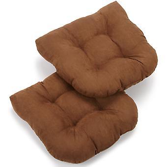 Coussin de chaise à manger tufted micro suede en forme de U de 19 pouces (ensemble de 2) - chocolat