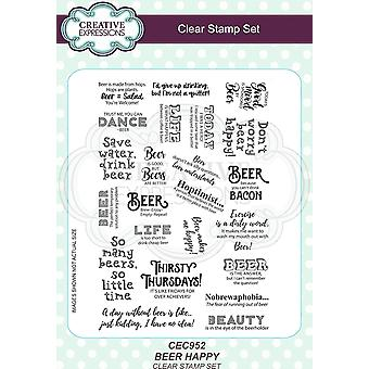 Creative Expressions Beer Happy A5 Clear Stamp Set -ords CED23034: n ja CED23035: n kanssa