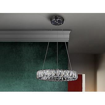 Suspension LED intégrée dimmable, cristal chromé