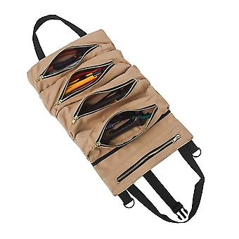 Roll tool multi-purpose up bag wrench pouch hanging zipper carrier tote canvas car organizer 5 pockets portable
